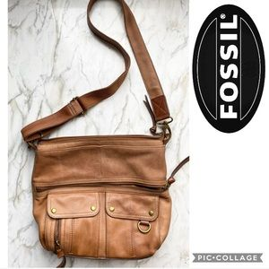 gorgeous tan fossil crossbody bag